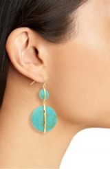 GORJANA Brinn Drop Earrings Green Turquoise ~ blue stone discs