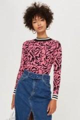 Topshop Graffiti Skinny Pattern Jumper in Pink | retro style knitwear