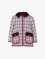 GUCCI Grosgrain-trim tweed jacket gardenia/ink / checked jackets