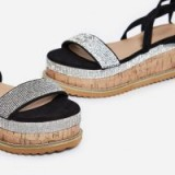 ego Haim Diamante Detail Espadrille Flatform In Black Faux Suede – luxe strappy summer sandals