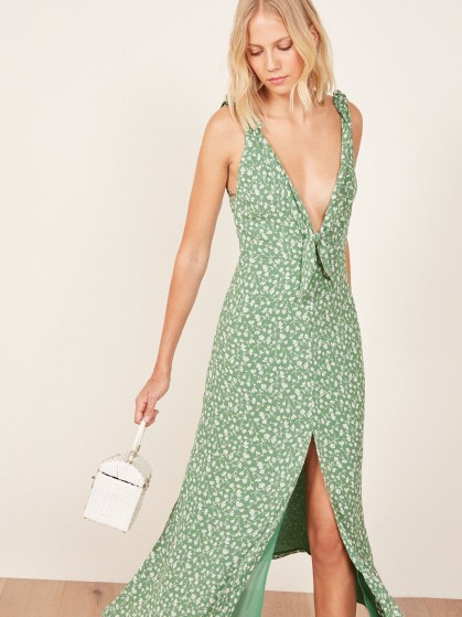 REFORMATION Harper Dress Daisies / green floral plunging dresses