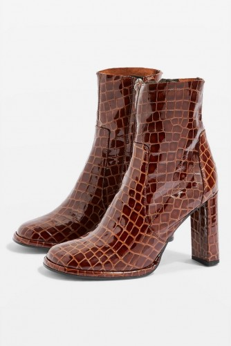 TOPSHOP Hattie Brown Leather Boots / croc embossed / animal prints