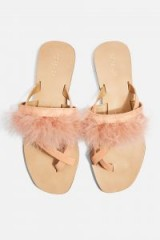 Topshop Holly Fluff Sandals in Nude | fluffy summer flats
