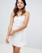 Honey Punch Lace Up front cami dress with frill hem | white summer slip