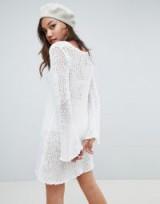 Honey Punch long sleeved open knit dress in White | sheer scooped neck sweater dresses