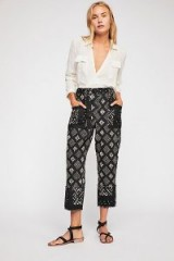 Imani Printed Cotton Pants in Black Combo at Free People | cropped summer trousers