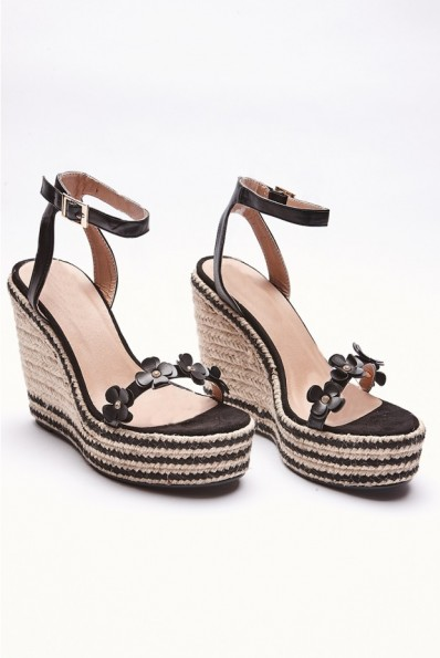 IN THE STYLE IMELDIA BLACK FLORAL STRAP WEDGES ~ platform wedge summer heels