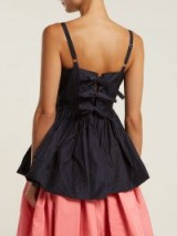 MOLLY GODDARD Imogen gathered taffeta top ~ bow back detail ~ fit and flare