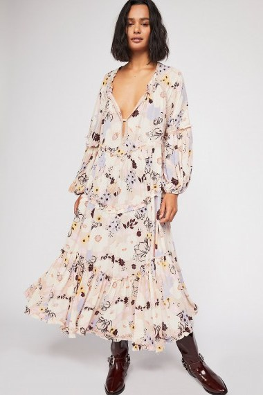 FREE PEOPLE In The Moment Printed Dress in Nude Combo / flowy floral boho fashion - flipped