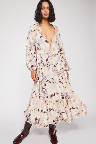 FREE PEOPLE In The Moment Printed Dress in Nude Combo / flowy floral boho fashion