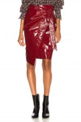 ISABEL MARANT Eoji Skirt burgundy / wrap style side tie / dark-red high shine skirts