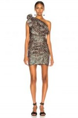 ISABEL MARANT Synee Dress Green / one shoulder metallic mini