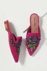 Jeffrey Campbell Embroidered-Backless Flats in Rose | pink pointy toe loafer