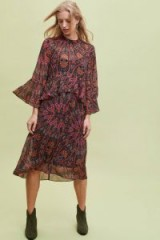 Kachel Berta Printed-Ruffled Midi Dress / flared sleeved fashion