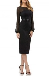 KAY UNGER Chiffon & Lace Sheath Dress Black ~ chic lbd