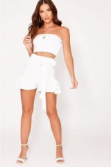 IN THE STYLE KEAVY WHITE FRILL HEM HIGH WAISTED SHORTS – summer ruffles