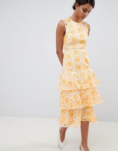 Keepsake lace midi dress yellow – tiered midi – summer occasion