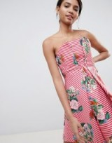 Keepsake structured mini dress in stripe and floral print blush – pink striped strapless dresses