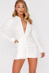 IN THE STYLE DAWNI WHITE TIE FRONT RUCHED SHIRT DRESS – glamorous celebrity inspired dresses