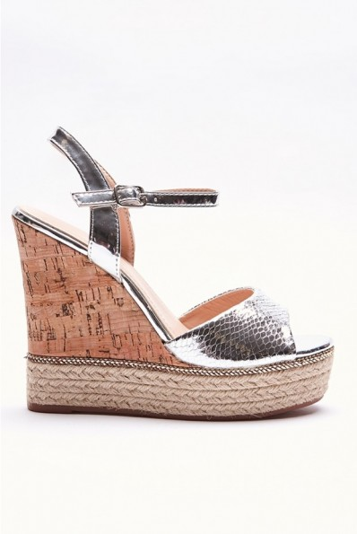 IN THE STYLE KIMME SILVER METALLIC WEDGES – summer wedge sandals