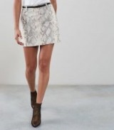 REISS KORA SNAKE PRINT LEATHER MINI SKIRT NEUTRAL ~ a touch of glamour
