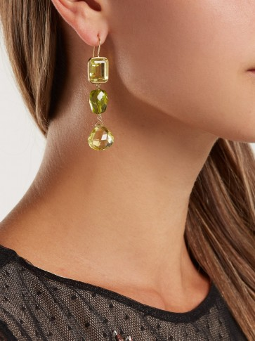 BRIGID BLANCO 18kt gold, citrine & peridot earrings ~ green and yellow drops