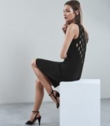 REISS LARA BACK DETAIL KNITTED BODYCON DRESS BLACK ~ lbd