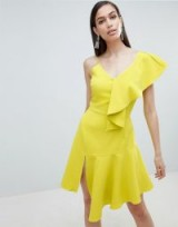 Lavish Alice draped asymmetric cami mini dress in Lime | ruffled party frock