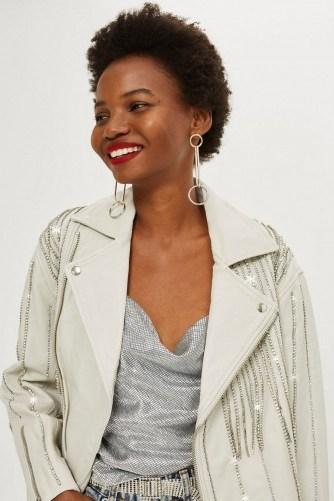 TOPSHOP Leather Diamante Biker Jacket White / shimmering jackets - flipped