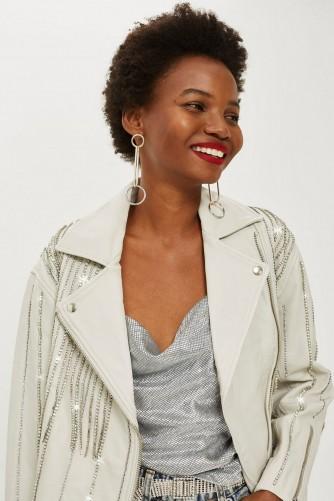 TOPSHOP Leather Diamante Biker Jacket White / shimmering jackets