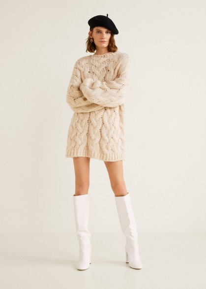 MANGO Leather high-leg boots in White / retro look