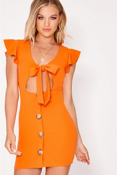 IN THE STYLE LELE ORANGE TIE FRONT BUTTON DOWN DRESS ~ cut out dresses