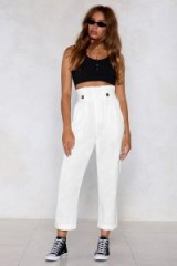 NASTY GAL Life's a Bag Tapered Pants in white | high paperbag waist tapered trousers