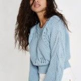 River Island Light blue chunky knot jumper | short slouchy sweater