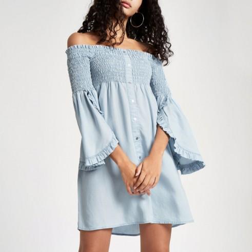 RIVER ISLAND Light blue denim shirred bardot dress – off the shoulder summer dresses