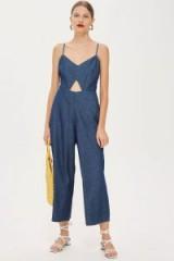 Topshop Light Denim Cut Out Jumpsuit in Blue | tie back strappy jumpsuits