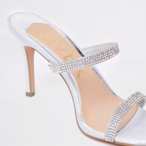 RIVER ISLAND Light grey barely there slip on stiletto mule – embellished high heel mules