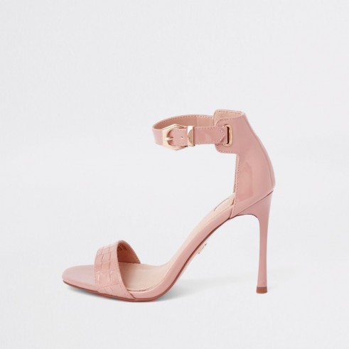 RIVER ISLAND Light pink croc barely there sandals – faux patent leather heels – luxe style