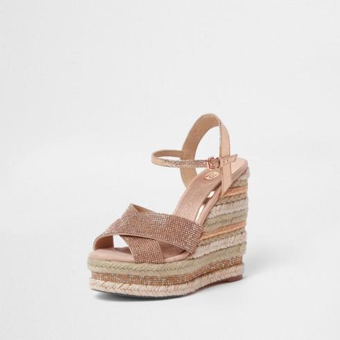 River Island Light pink metallic diamante wedge sandals | luxe summer wedges
