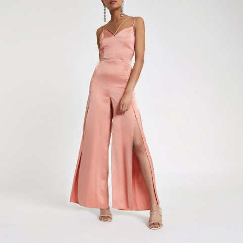 River Island Light pink strappy cami split leg jumpsuit | summer party fashion