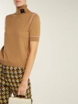 ROCHAS Logo-appliqué brown cashmere turtleneck ~ chic knitwear