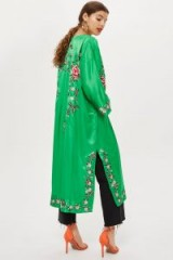 Topshop Longline Embroidered Kimono in Green | oriental inspired fashion