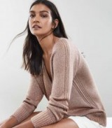 Reiss LOTTIE METALLIC OVERSIZED V-NECK JUMPER COPPER ROSE / luxe style sweaters