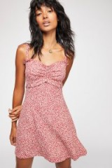FREE PEOPLE Love Like This Mini Dress Garnet / red & white ditsy print