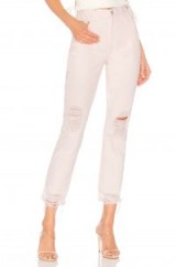 Lovers + Friends LOGAN HIGH-RISE TAPERED JEAN in Lolita | destroyed denim jeans