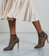 Reiss LUPITA METALLIC POINT TOE HEELED ANKLE BOOTS BRONZE METALLIC / glamorous booties