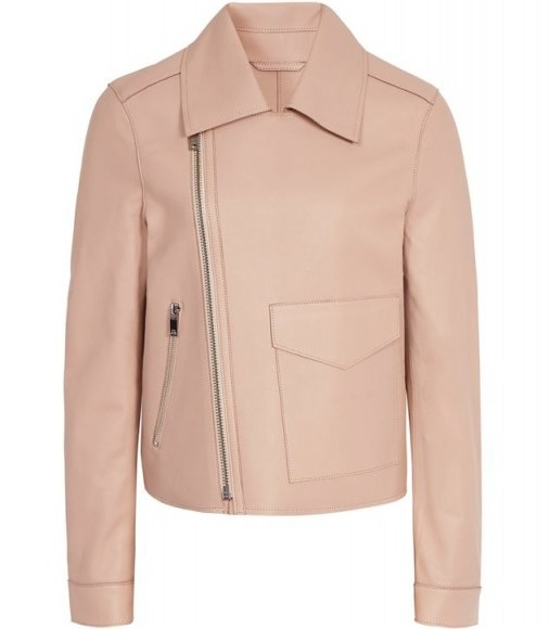 REISS MARGO BONDED LEATHER JACKET APRICOT ~ luxe contemporary biker - flipped