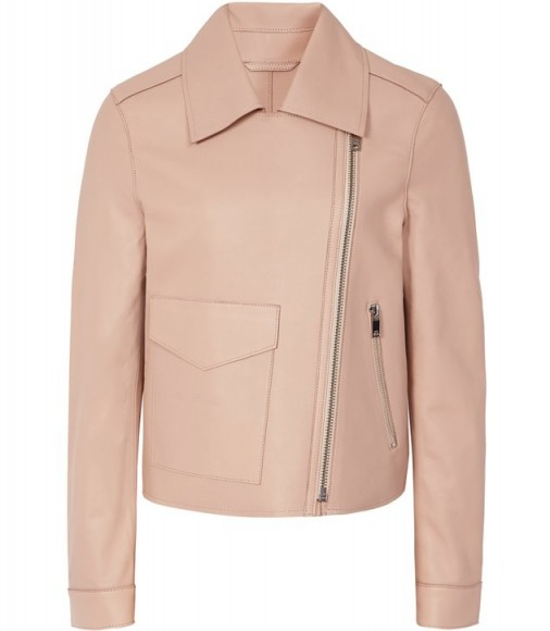 REISS MARGO BONDED LEATHER JACKET APRICOT ~ luxe contemporary biker