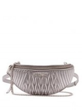 MIU MIU Matelassé-quilted leather belt bag. SILVER METALLIC BUM BAGS