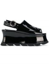 MCQ ALEXANDER MCQUEEN black leather platform slingback sandals ~ high shine chunky platforms
